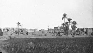 Aymard de Banville, Temple de Louxor, vue prise de l'est : pigeonniers et palmiers, le temple en arrière-plan, Egypt, 1864.